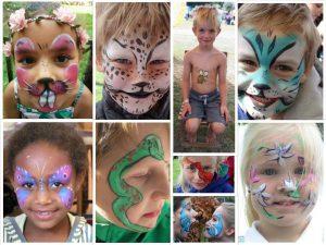 tekenatelier gerdie schiphorst-collage geschminkte kinderen